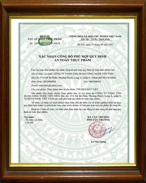 giấy chứng nhận của tỏi đen đất việt
