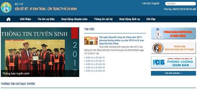 website viện ký sinh trùng TPHCM