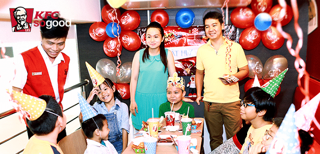 Top 10 địa điểm tổ chức sinh nhật cho bé đẹp nhất tại TP HCM: KFC