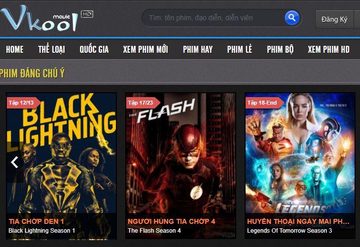 Top 10 web xem phim tốt nhất: Vkool