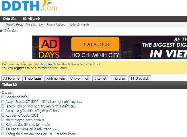 Top website diễn đàn công nghệ lớn nhất tại Việt Nam: Diễn đàn tin học