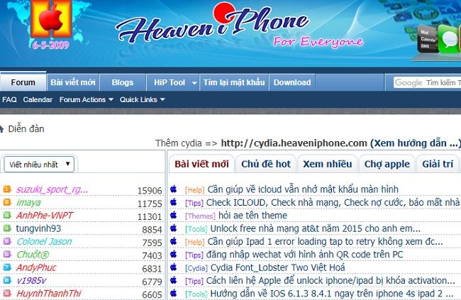 Top website diễn đàn công nghệ lớn nhất tại Việt Nam: HeaveniPhone