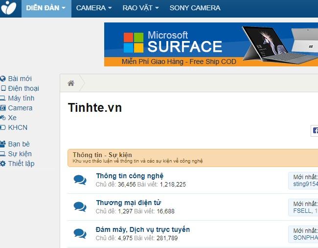 Top website diễn đàn công nghệ lớn nhất tại Việt Nam: tinhte
