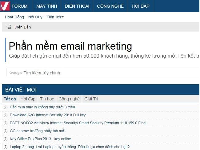 Top website diễn đàn công nghệ lớn nhất tại Việt Nam: Vforum
