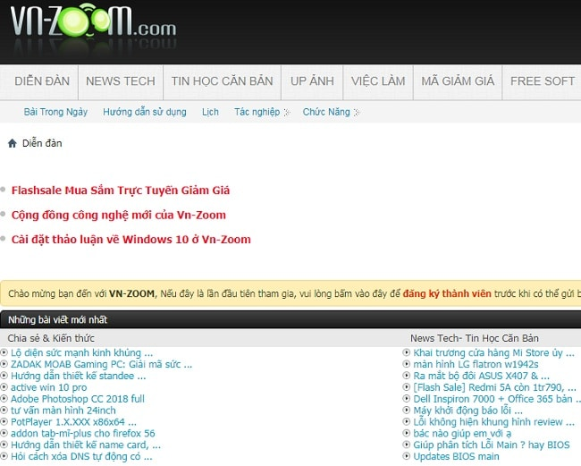 Top website diễn đàn công nghệ lớn nhất tại Việt Nam: vnzoom