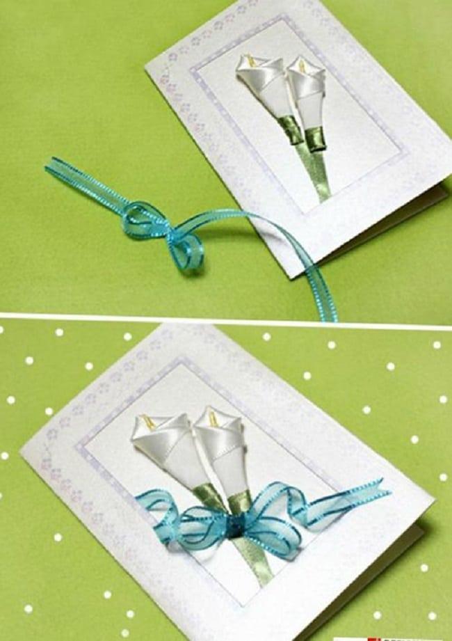 Cách tự làm thiệp handmade bằng hoa ruy băng đơn giản mà đẹp