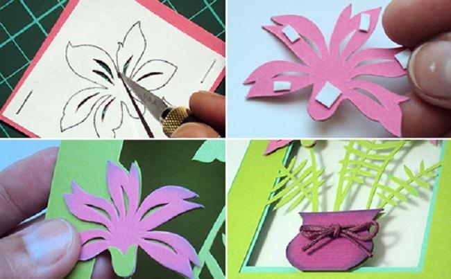 Cách tự làm thiệp hoa trổ giấy đơn giản mà đẹp