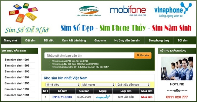 Web sim AMI là TOP 10 web bán sim số đẹp TPHCM uy tín giá rẻ
