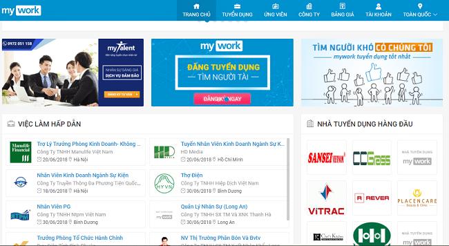 Myworks.com.vn là Top 10 website tuyển dụng việc làm uy tín nhất năm 2019