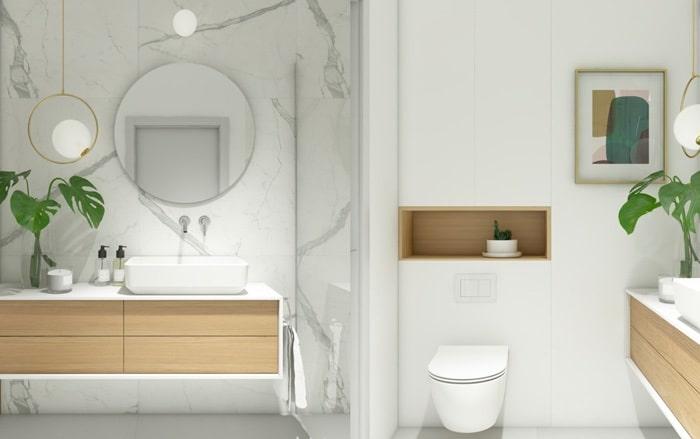 Phòng vệ sinhv ới tone màu sáng cho không gian rộng rãi hơn