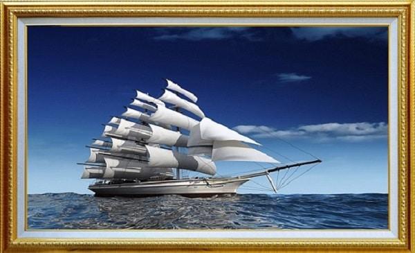 Tranh thuận buồm xuôi gió cỡ nhỏ 70x120cm có đóng khung đẹp