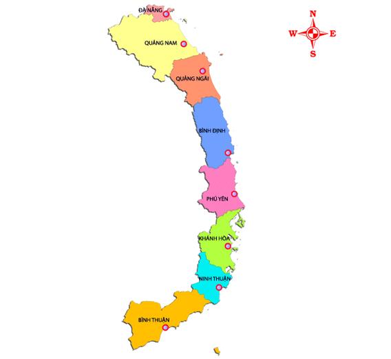 Danh sách 63 tỉnh thành Việt Nam Nam Trung Bộ