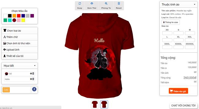 thiết kế áo thun Online gecko