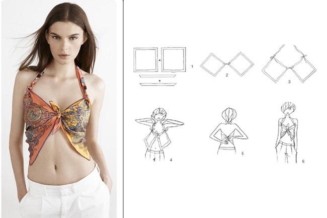 Cách thắt khăn dải lụa vuông thành áo tắm