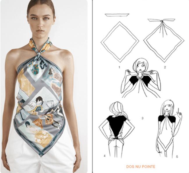 Cách thắt khăn dải lụa vuông thành áo yếm lưng trần