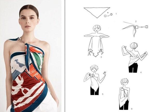 Cách thắt khăn dải lụa vuông thành áo dự tiệc