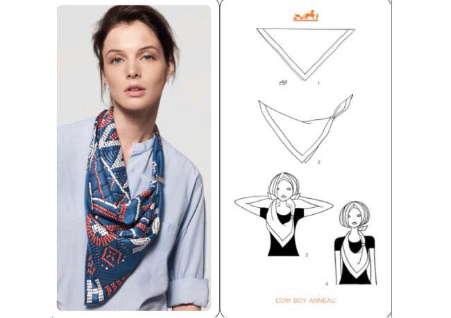 Cách thắt khăn dải lụa dài kiểu chữ V