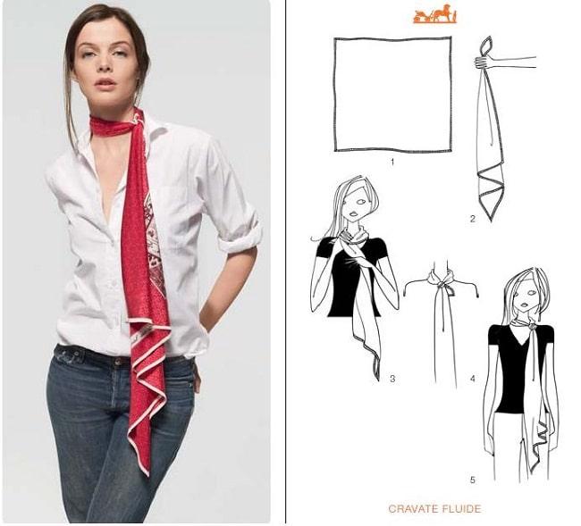 Cách thắt khăn dải lụa dài kiểu cà vạt