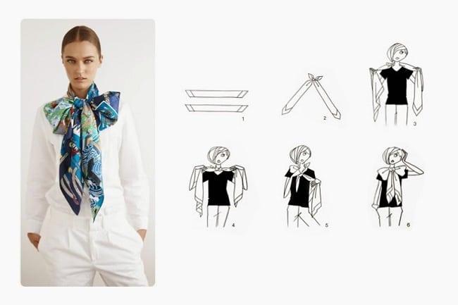 Cách thắt khăn dải lụa dài thắt nơ bản to