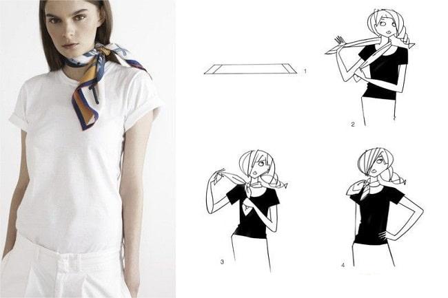 Cách thắt khăn dải lụa vuông xoắn 2 lớp