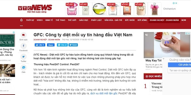 Báo VTC News đánh giá về dich vụ diệt mối GFC