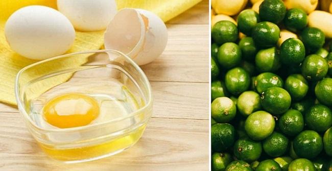 Đắp mặt nạ lòng trắng trứng gà và chanh trị mụn cho da dầu