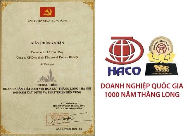 Giấy chứng nhận công ty Haco