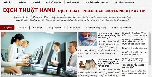 Website dịch thuật Hanu