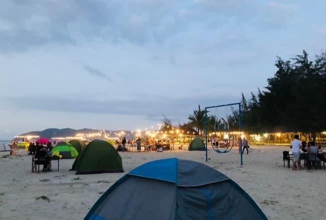 Khu cắm trại Tân Cảnh Dương vào chiều tối